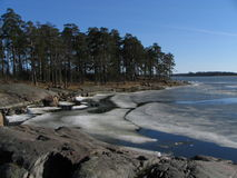 Melting ice at the coast. Of Finland in april Stock Photo