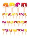 Melting Ice Cream Alphabet Flat Banner Royalty Free Stock Image