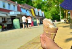 Melting ice cream cone Royalty Free Stock Image
