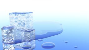 Melting Ice Cube 3D Illustration Royalty Free Stock Image
