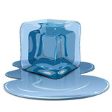 Melting ice cube. Illustration melting ice cube on a white background Royalty Free Stock Photos