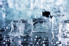 Melting ice cubes. Macro shooting Stock Photos