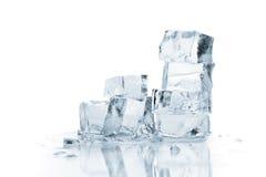 Melting ice cubes. Isolated on white Royalty Free Stock Photography