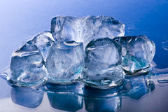 Melting ice cubes. Ice cubes melting on a blue background royalty free stock photography