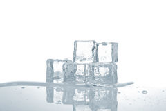 Melting ice cubes. In water reflected on white background. Shallow depth of field Royalty Free Stock Image