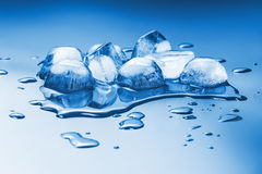 Melting ice cubes. On a homogeneous background tinted in blue Stock Photo