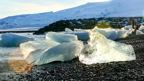 Melting ice floes at the glacier lagoon Jokulsarlon, Iceland stock video