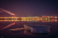 Melting ice floes in the Gulf city of Murmansk Royalty Free Stock Image