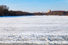Melting ice on frozen lake Royalty Free Stock Image