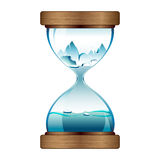 Melting ice in hourglass. Melting ice , eco concept in hourglass stock illustration