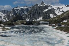 The melting ice on the lake high in the mountains. The Alps pass Stock Images