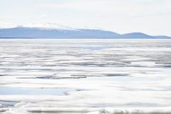 Melting Ice on Lake Surface. Nature Background Stock Photography