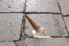 Melting Ice. A melting ice cone in the streets of Venice Royalty Free Stock Photography