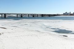 Melting ice on the Ob River in the spring, Communal bridge, Novo. Sibirsk, Russia Stock Images