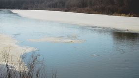 Melting of ice on the river, floe floating on river in spring stock footage