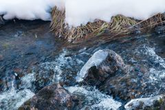 Melting ice on rough river. Spring is coming.  stock photo