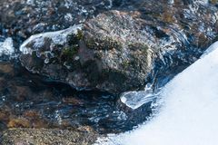 Melting ice on rough river. Spring is coming.  royalty free stock photography