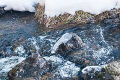 Melting ice on rough river. Spring is coming.  royalty free stock image