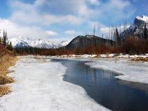Melting ice in Vermillion Lake Royalty Free Stock Image