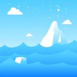 Melting icebergs. Vector illustration of melting icebergs
