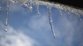Spring warming, icicles melt under the roof. Melting icicles in the spring.  Spring warming, icicles melt under the roof stock video