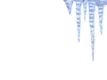 Melting icicles on white background Royalty Free Stock Photos