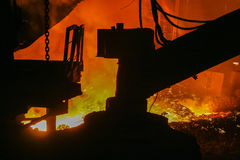 Melting of iron at a metallurgical plant Royalty Free Stock Images