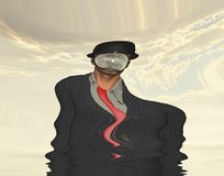 Melting Man. Melting Scene of man in dark suit hidden face. Human elements were created with 3D software and are not from any actual human likenesses Royalty Free Stock Photos