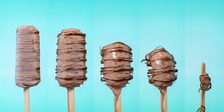 Melting melted chocolate ice cream in summer hot weather stock image