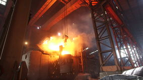 Melting of the metal at the factory. stock video footage