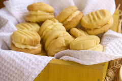 Melting Moments. Delicious fresh baked melting moments shortbread biscuits ready to serve Stock Photography