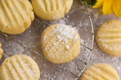 Melting Moments. Fresh baked melting moments shortbread biscuits with icing sugar straight from the oven Stock Photos