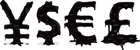 Melting money. Melting yen dollar, euro and sterling signs vector illustration