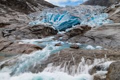 Melting of the Nigardsbreen Glacier. Jostedalsbreen National Park, Norway Stock Photo