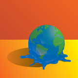 Melting planet. Earth vector draw royalty free stock photography