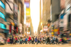 Melting pot people walking in Manhattan - New York City. Melting pot people walking on zebra crossing and traffic jam on 7th avenue in Manhattan before sunset royalty free stock photo
