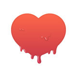 Melting red heart icon. Stock Photo