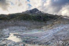 Melting Rhone glacier, Switzerland Stock Photo
