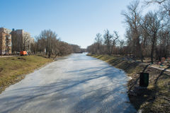 Melting river during spring time Royalty Free Stock Photo