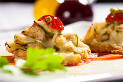 Melting shrimp and vegetable entree Royalty Free Stock Photo