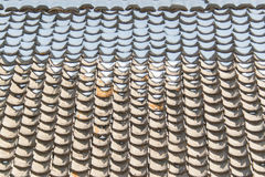 Melting snow accumulates on roof tiles Royalty Free Stock Photos