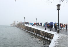 Melting Snow at Broken(duanqiao) Bridge. Is one of  Ten Sights in West Lake Stock Image