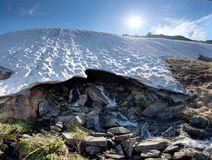 Melting snow cap in the mountain. With clean spring under snow Royalty Free Stock Photography