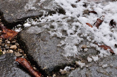 Melting snow on cobble. Ugly day in February with slush on the paving royalty free stock photography