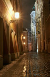 Melting snow on the cobbled street at night Royalty Free Stock Photo