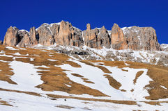 Melting Snow, Dolomites, Italy. Melting snow on the slopes of the Sella mountain group in the Dolomites in Italy Stock Image
