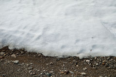 Melting snow on ground. Background of snow melting to reveal ground underneath Royalty Free Stock Photography