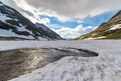 Melting snow at high altitude in the Alps Royalty Free Stock Image