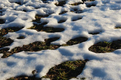 Melting snow on lawn Stock Photos