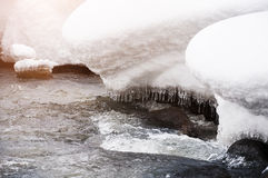 Melting snow on the mountain river Royalty Free Stock Image